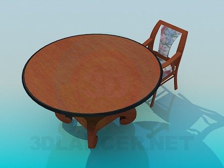 3d model Round table with chair - preview