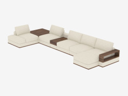 Divano ad angolo modulare con ripiano e tavolo