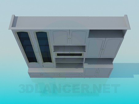 3d model Wall unit in the living room - preview