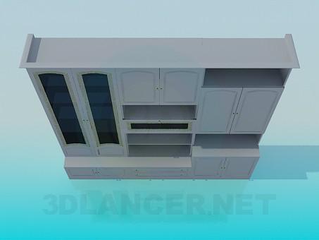 3d моделирование Мебельная стенка в гостинную комнату модель скачать бесплатно