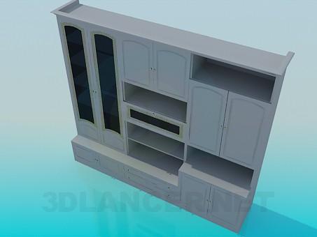 modelo 3D Unidad de pared en la sala de estar - escuchar