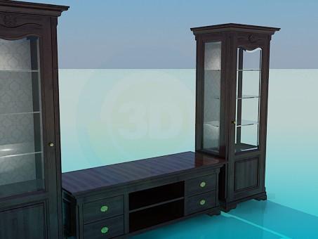 3d модель Мебель под ТВ в гостинную – превью