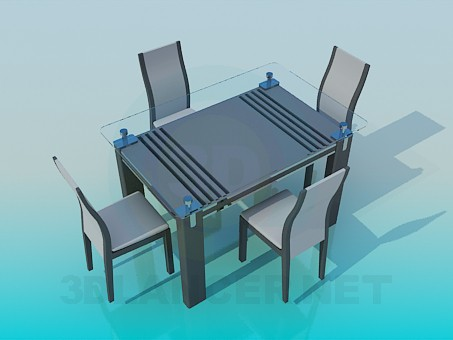 3d model Table with glass top and chairs - preview