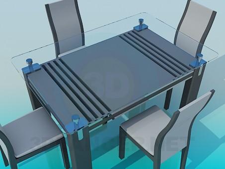 3d модель Стол со стеклянной столешницей и стулья – превью