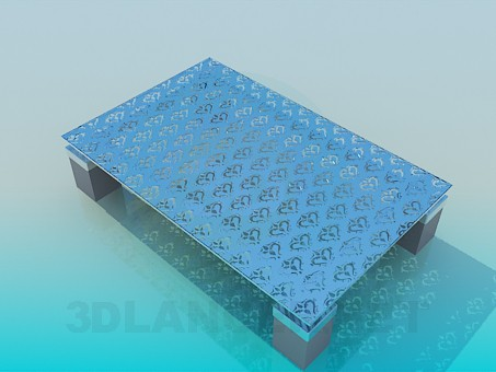 3d model Coffee table with glass mat surface - preview