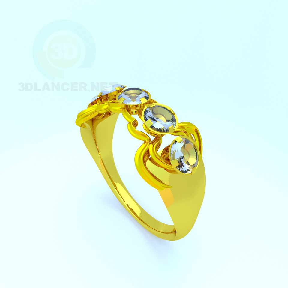 3d model Ring with stones - preview