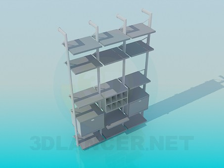 3d model Rack with shelves - preview