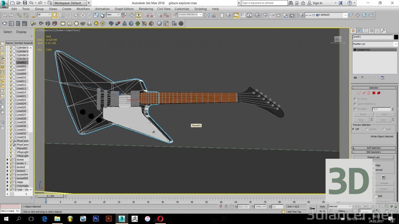 3d model Gibson Explorer Guitar - preview