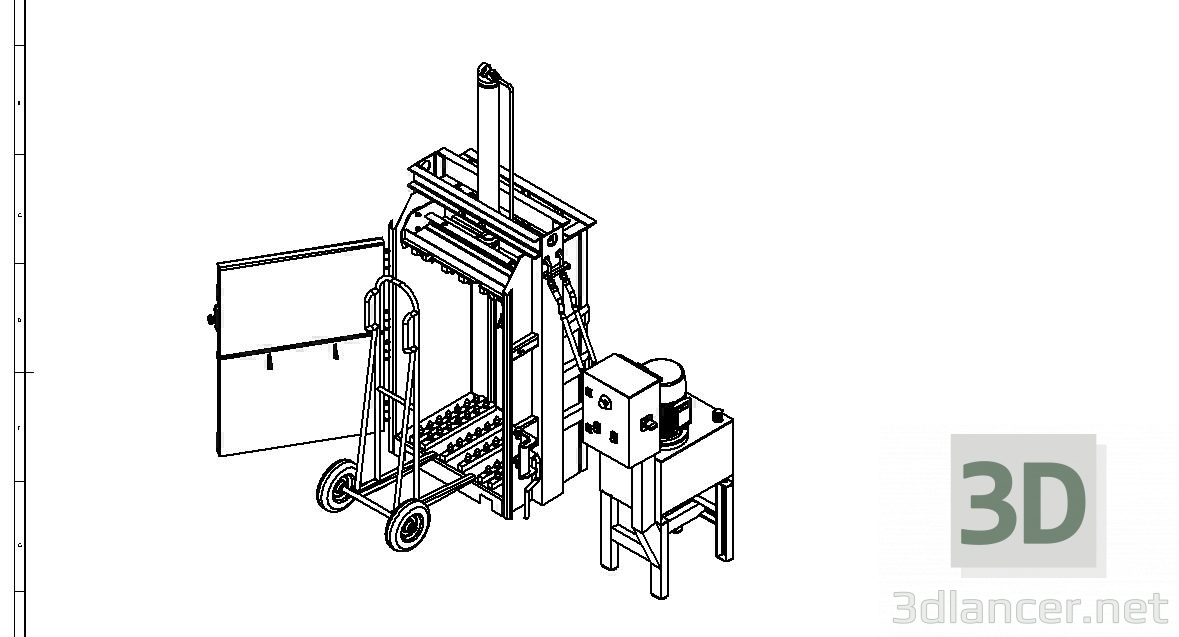 3d model Hydraulic press for paper and cardboard - preview