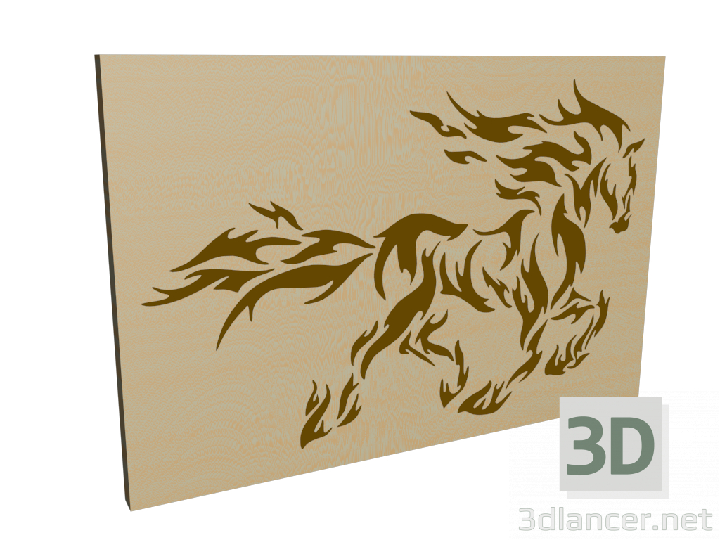 """3d model Panel """"Horse"""" - preview"""