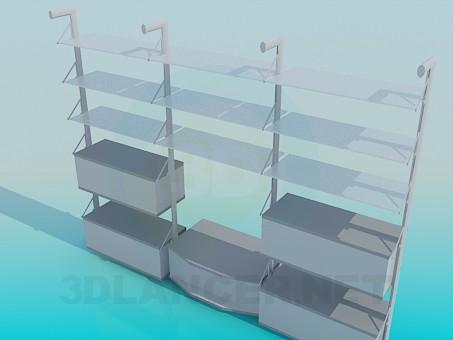 3d модель Пристінковий стелаж з окремою підставкою під ТВ – превью