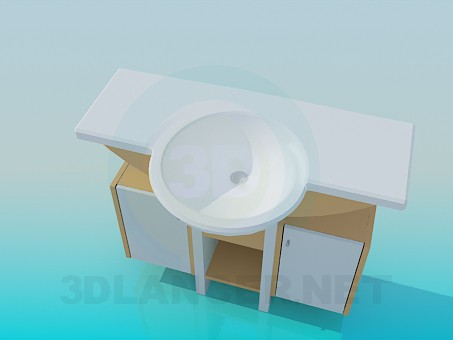 3d model Round wash basin with pedestal - preview