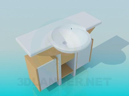 3d модель Круглий умивальник з тумбою – превью