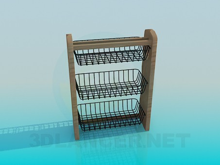 3d model Kitchen hanging shelf - preview