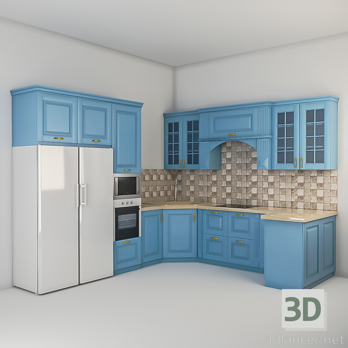 3d model kitchen in the style of classicism id 15926 for Model kitchen