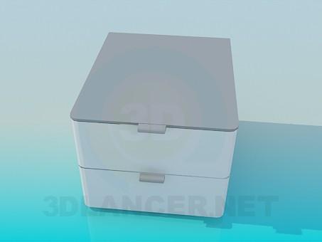 3d модель Квадратная тумба с 2 ящиками – превью