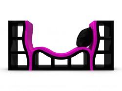 Designer bookcase, couch