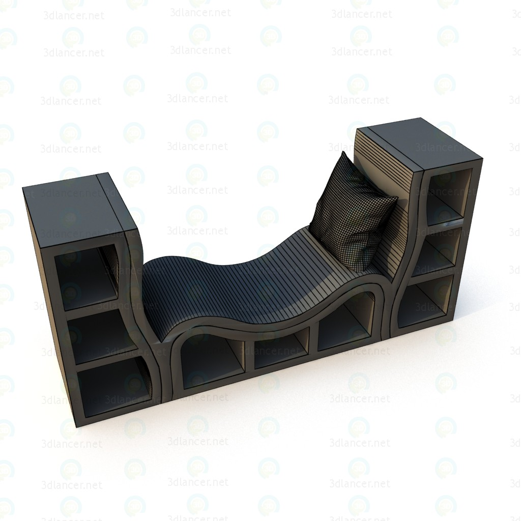 3d model Designer bookcase, couch - preview