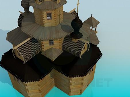 3d model Wooden church - preview