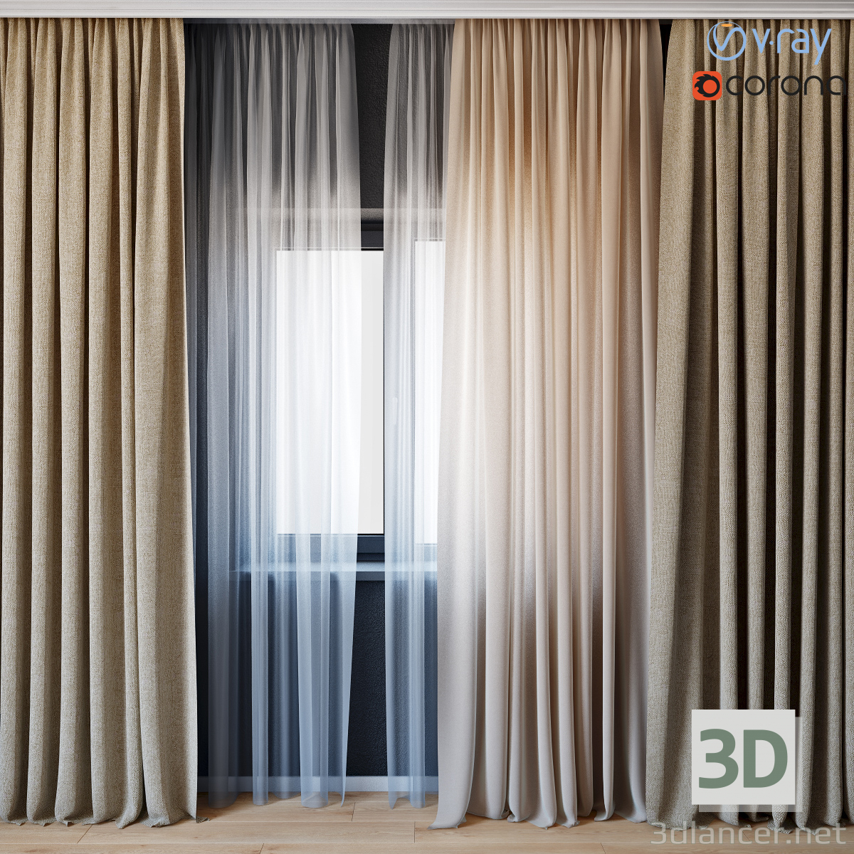 3D-Model Curtains with tulle set 01