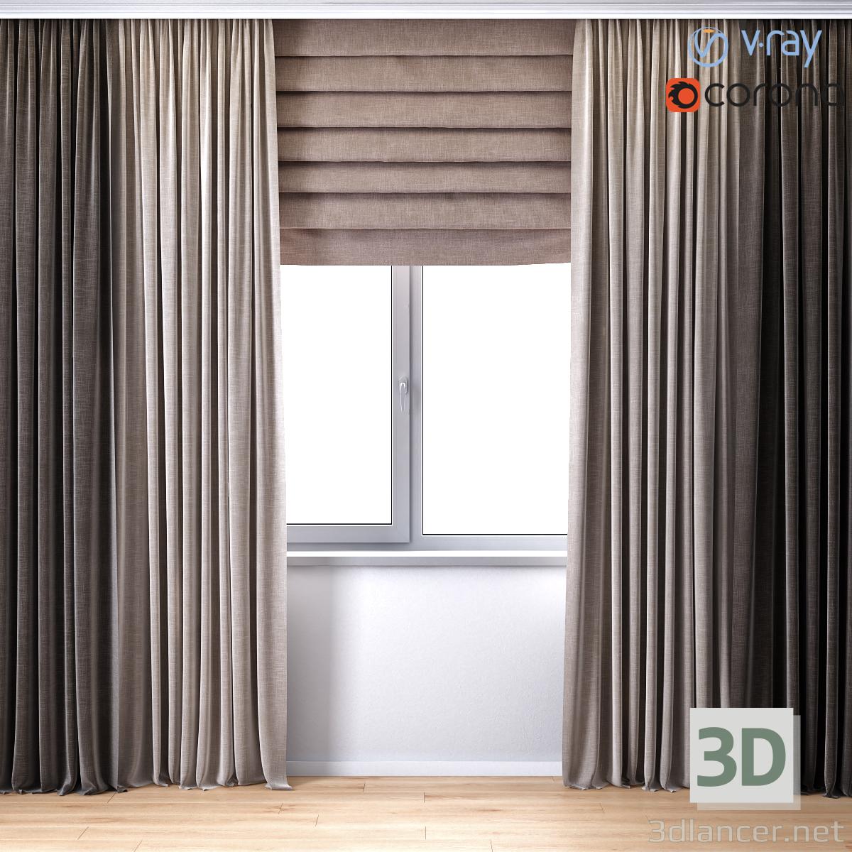 Modèle 3D Rideaux à rideau romain (Rayon V + Corona)