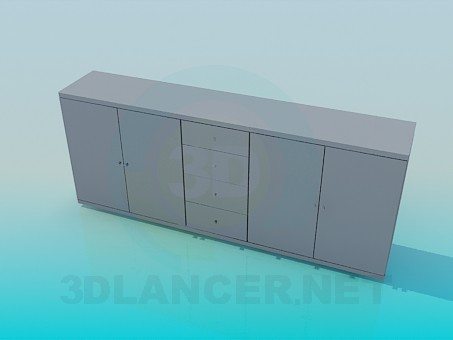 3d model Elongated cabinet - preview