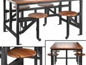 Wooden table with bar stools