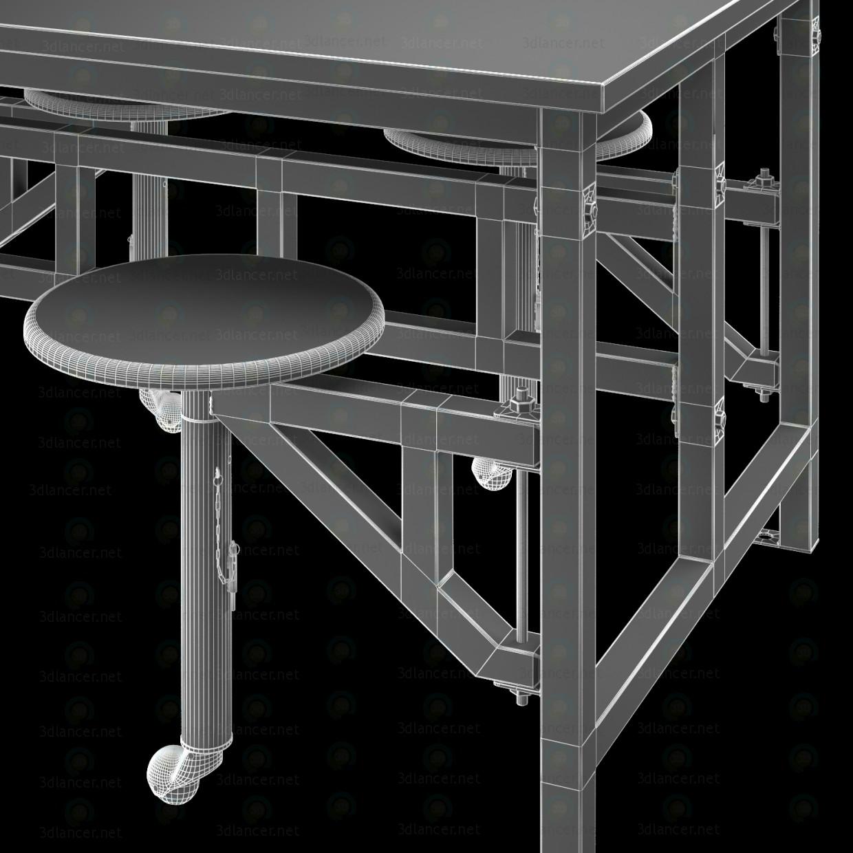 Mesa de madera con taburetes de la barra 3D modelo Compro - render