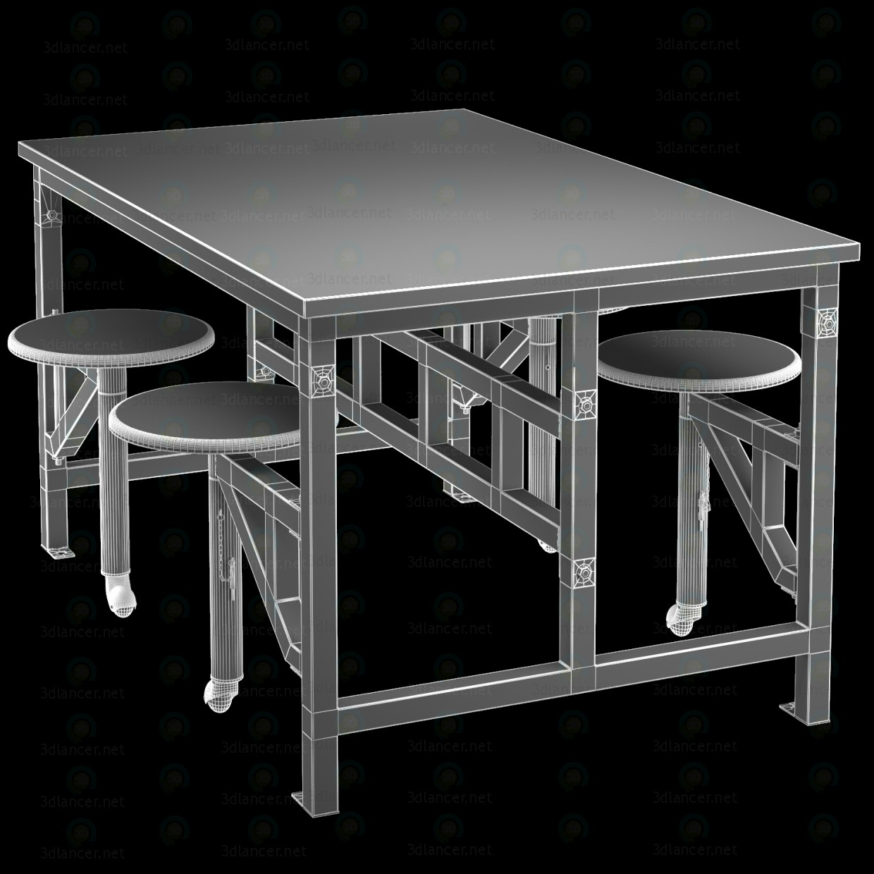3d Wooden table with bar stools model buy - render