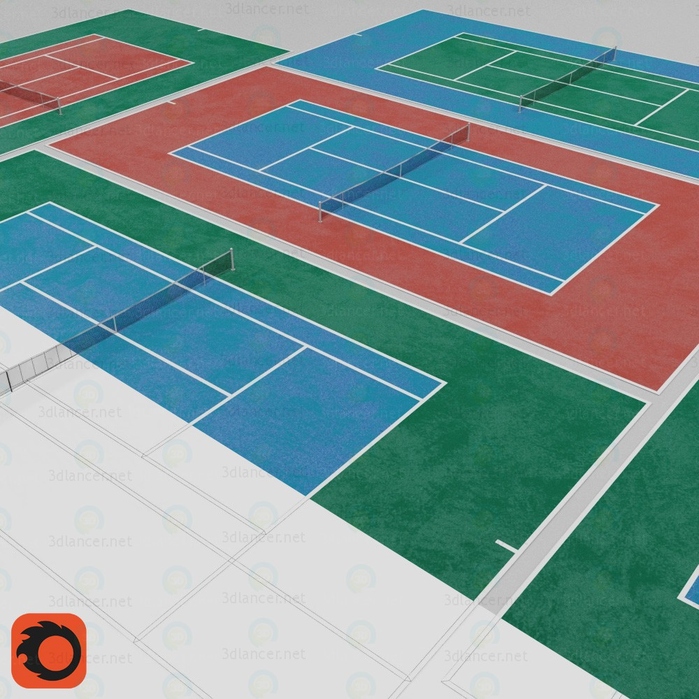 modelo 3D Cancha de tenis - escuchar