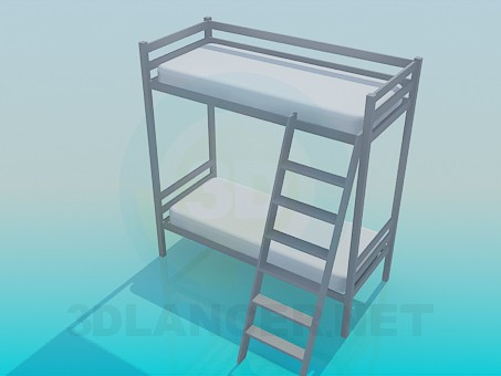 3d модель Двоярусне ліжко з драбиною – превью