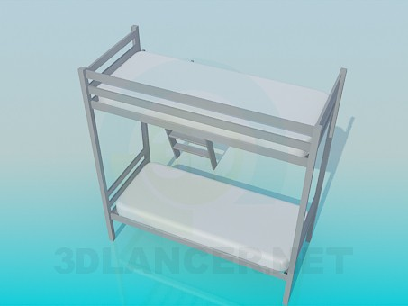 3d model Bunk bed with ladder - preview