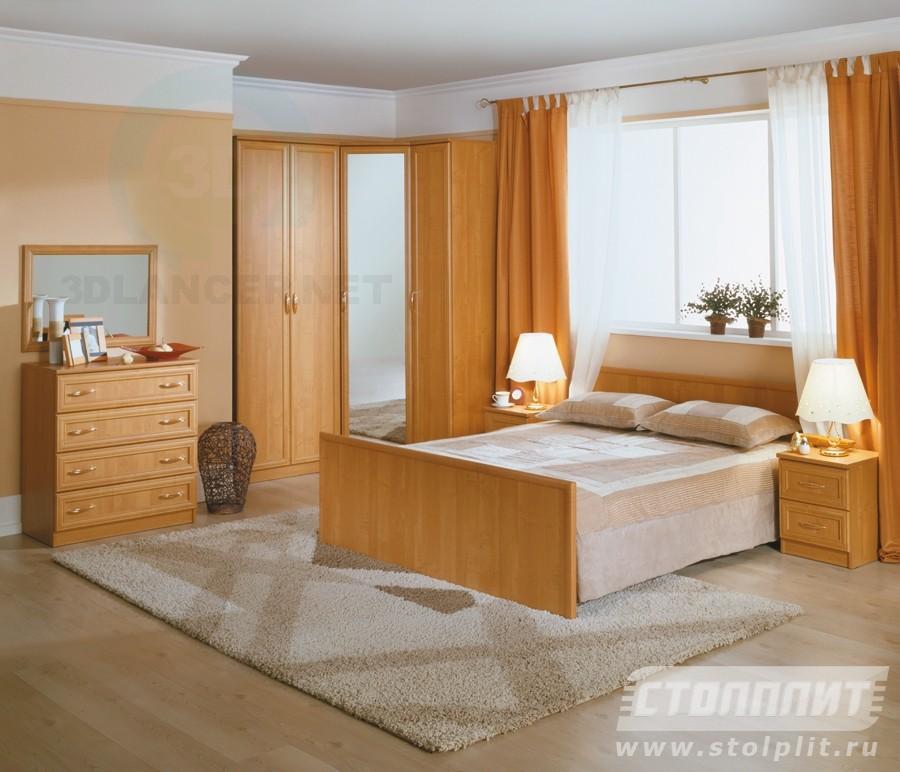 3d моделирование Спальня Джорджия (ольха) модель скачать бесплатно