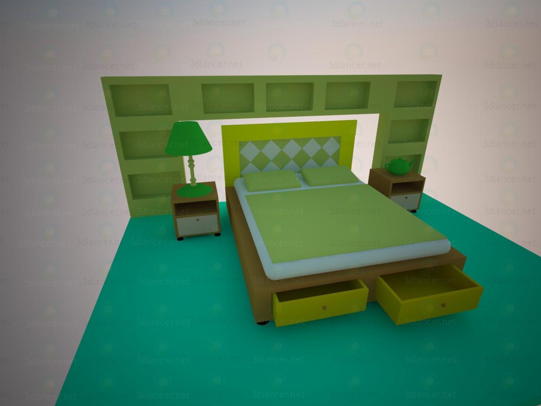 3d модель спальный гарнитур – превью