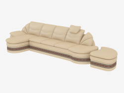 Sofa straight leather with a banquet