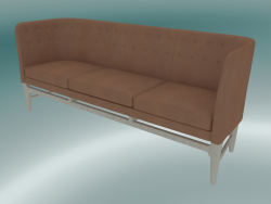 Triple sofa Mayor (AJ5, H 82cm, 62x200cm, White oiled oak, Leather - Cognac Silk)
