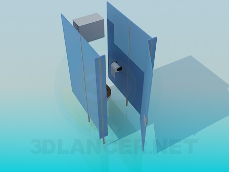 3d model Cubicle in a public toilet - preview