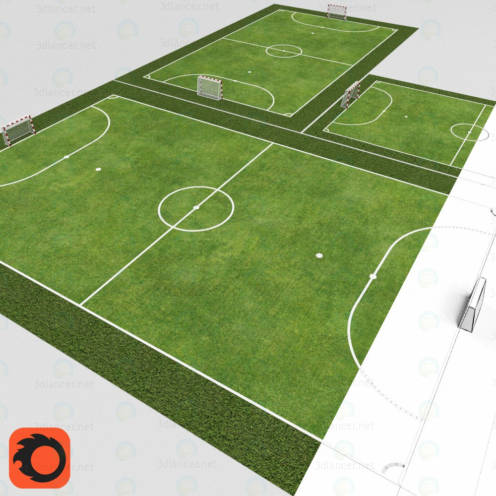 3d model Mini soccer fields - preview