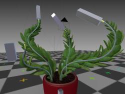 оснащена, анімована кімнатна рослина в блендері