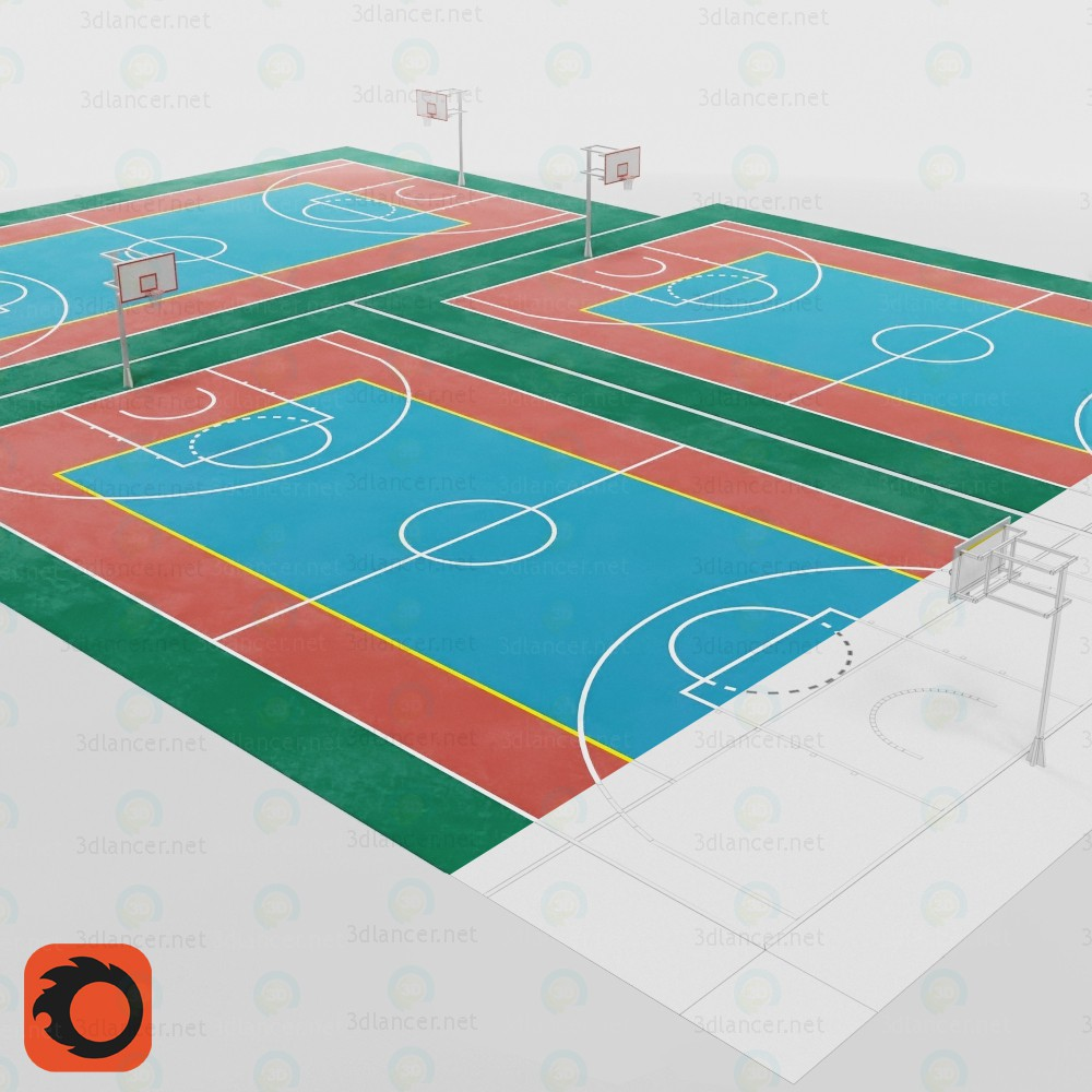 modèle 3D Terrain de basket - preview