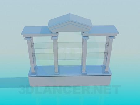 3d моделирование Стеллаж со стеклянными полочками модель скачать бесплатно