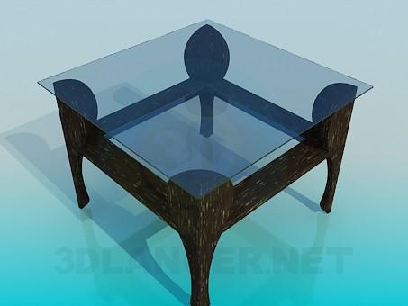 3d модель Журнальный стол со стеклянной столешницей – превью