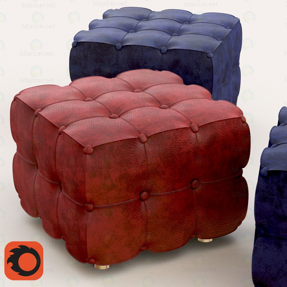 3d model Pouffe leather - preview