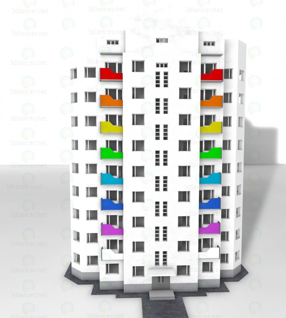 3d модель 9ти поверховий будинок – превью