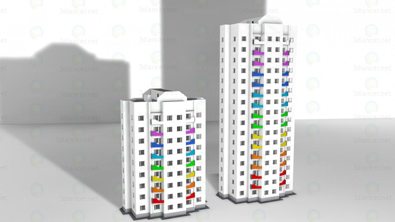 3d модель 9ти этажный дом – превью
