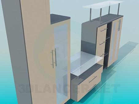 3d модель Стенка в гостинную – превью