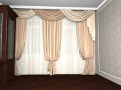 A room with curtains