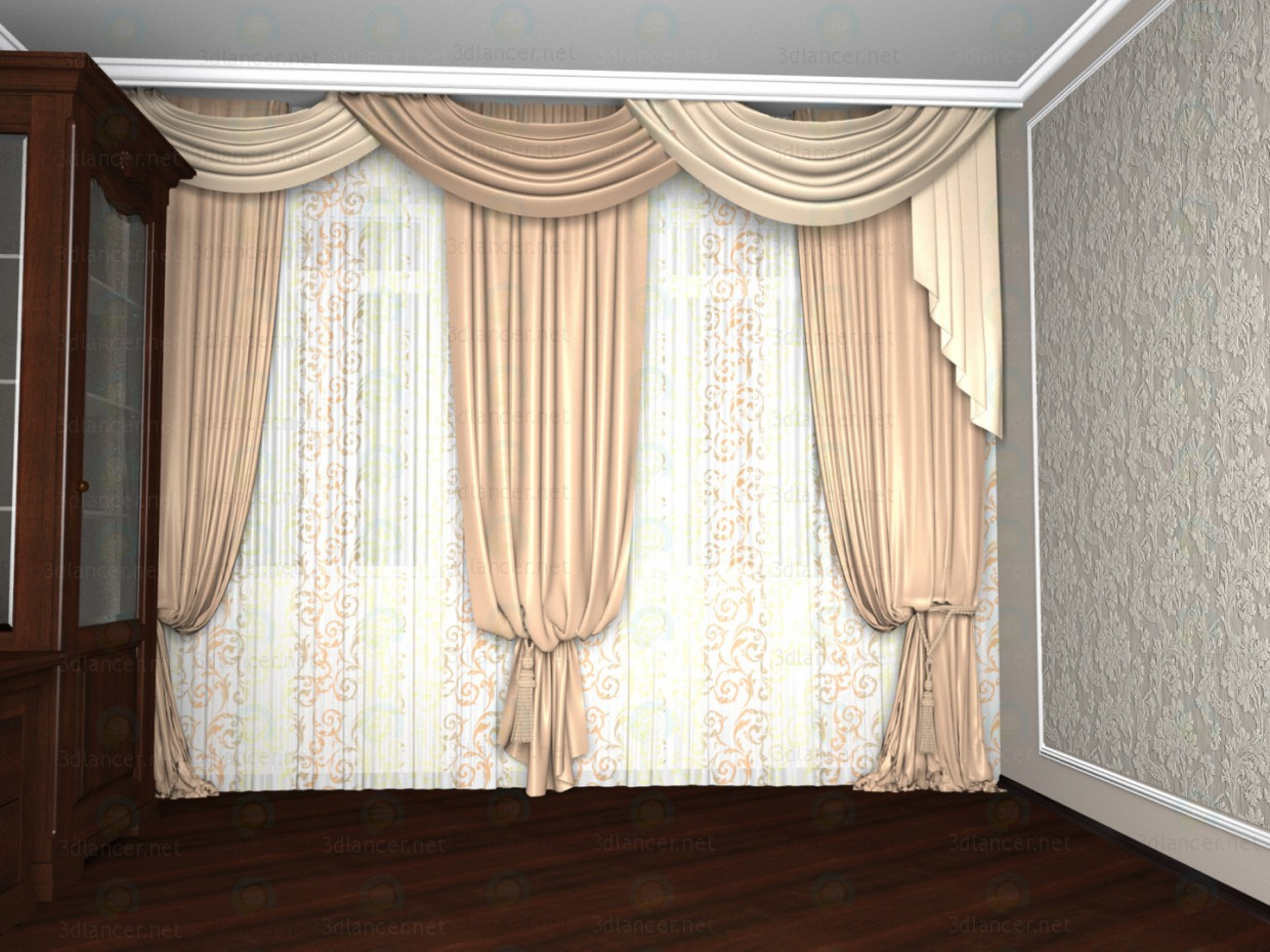 3d modeling A room with curtains model free download