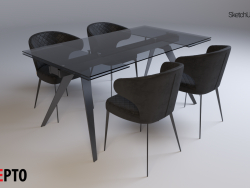 Concepto Glassy Keen folding table black + Concepto Keen chair oil gray