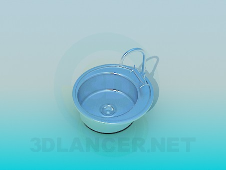 3d model Round metal sink - preview